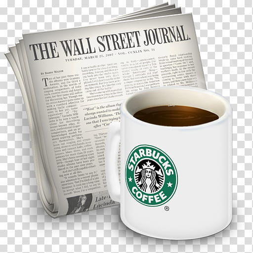 Newsreader Icons vol , Starbucks, The Wall Street Journal.