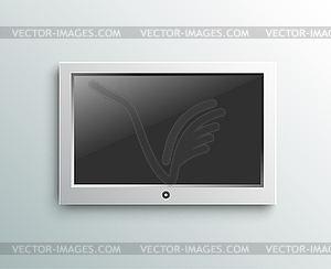 Led tv hanging monitor on wall background.
