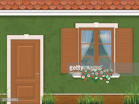 green wall door and window Clipart Image.