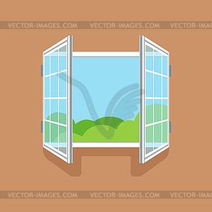 Flat open window on brown wall.
