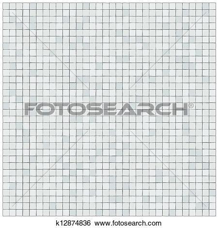 Clip Art of White tiles wall covering k12874836.