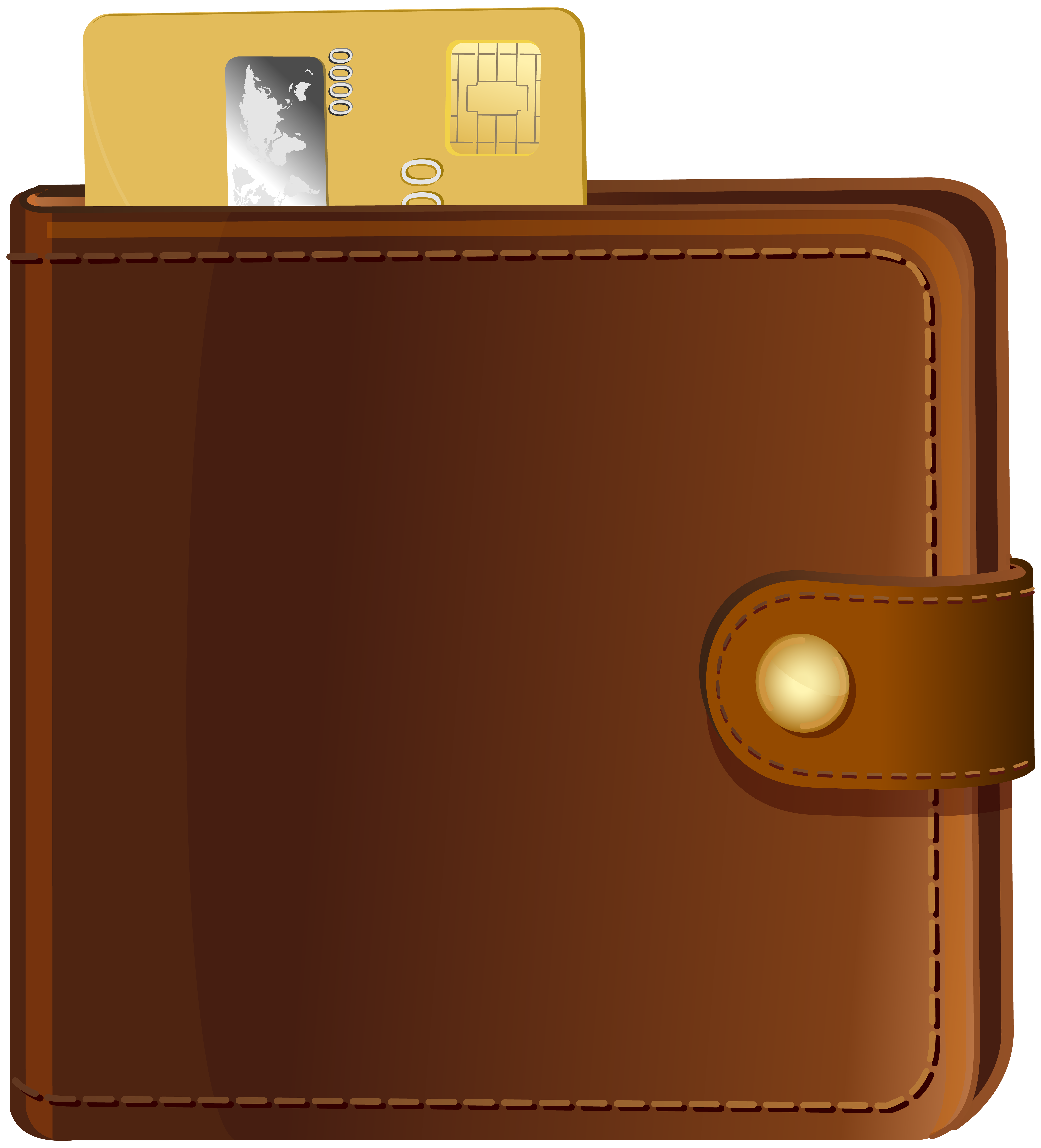 Wallet with Credit Card Transparent PNG Clip Art.