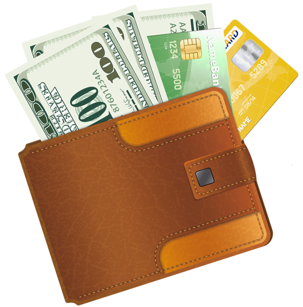 Wallet with Credit Cards and Money Clipart.