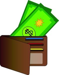 Open wallet clipart.