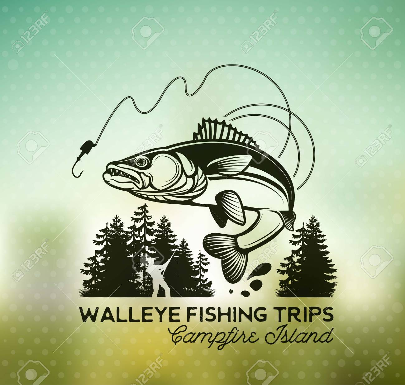 Vintage Walleye Fishing Emblems and Labels. Vector Illustration.