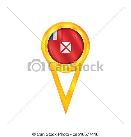 Vector Clip Art of Wallis & Futuna pin flag.