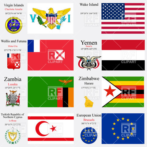 Flags of EU, Virgin Islands, Wake Island, Wallis and Futuna, Yemen.