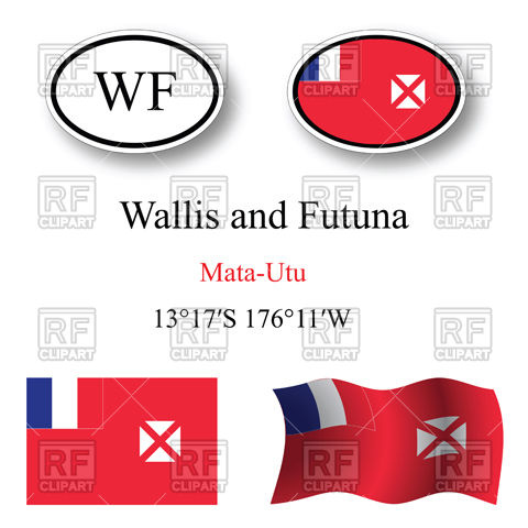 Oval label with flag of Wallis and futuna Vector Image #100271.