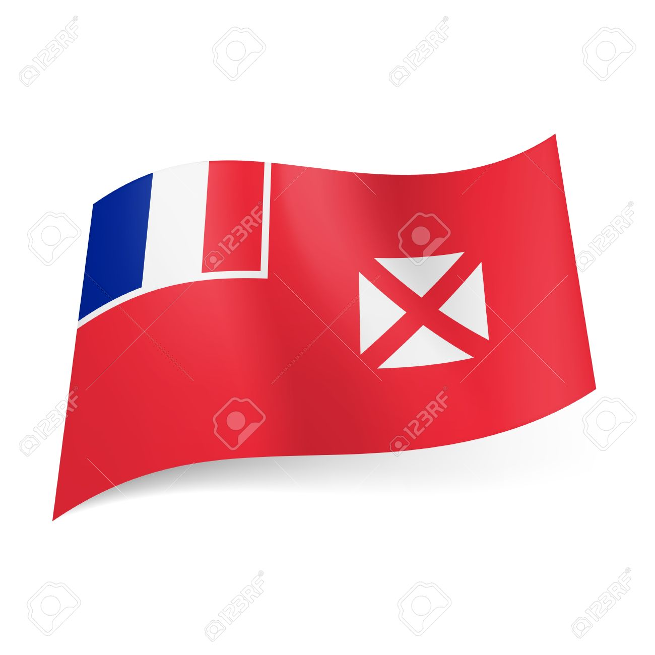 Flag Of Wallis And Futuna: French Flag And White Square With.