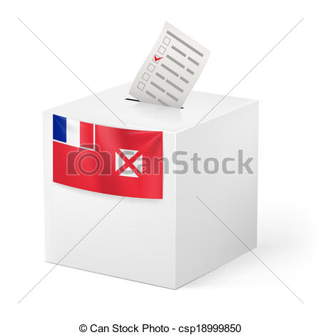 Clipart Vector of Ballot box with voting paper. Wallis and Futuna.
