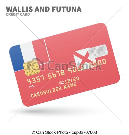 Vector Clipart of Credit card with Wallis and Futuna flag.