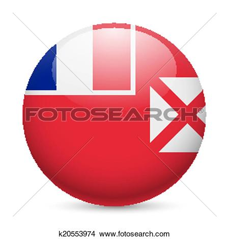 Clipart of Round glossy icon of Wallis and Futuna k20553974.