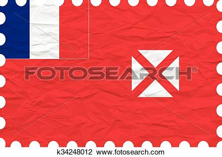 Clipart of wrinkled paper wallis and futuna stamp k34248012.