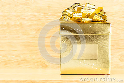 Present With Golden Bow Stock Illustration.