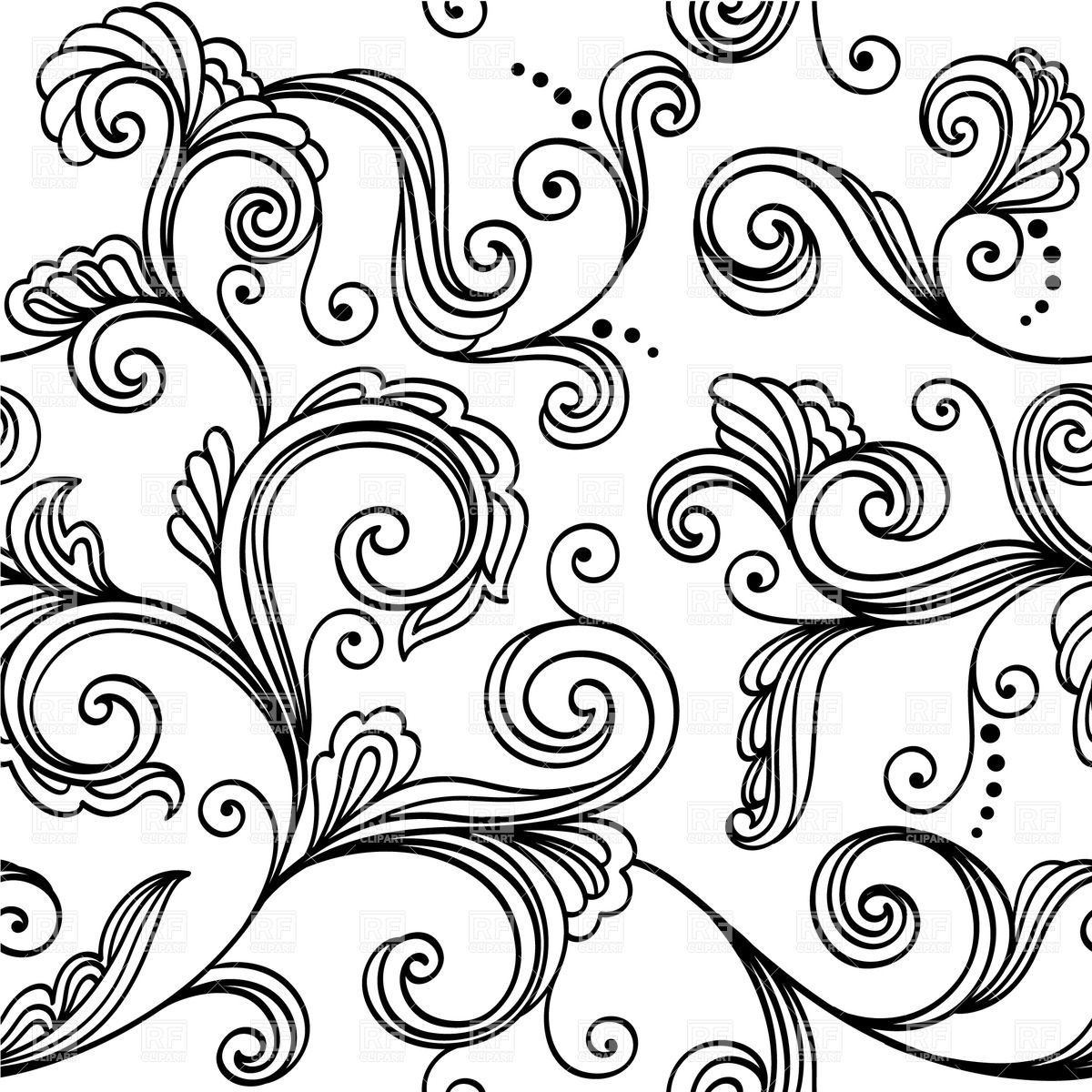 Seamless Black And White Floral Wallpaper Royalty Free.