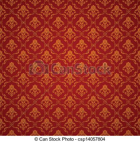 Vector Clipart of Red Seamless wallpaper pattern, vector.