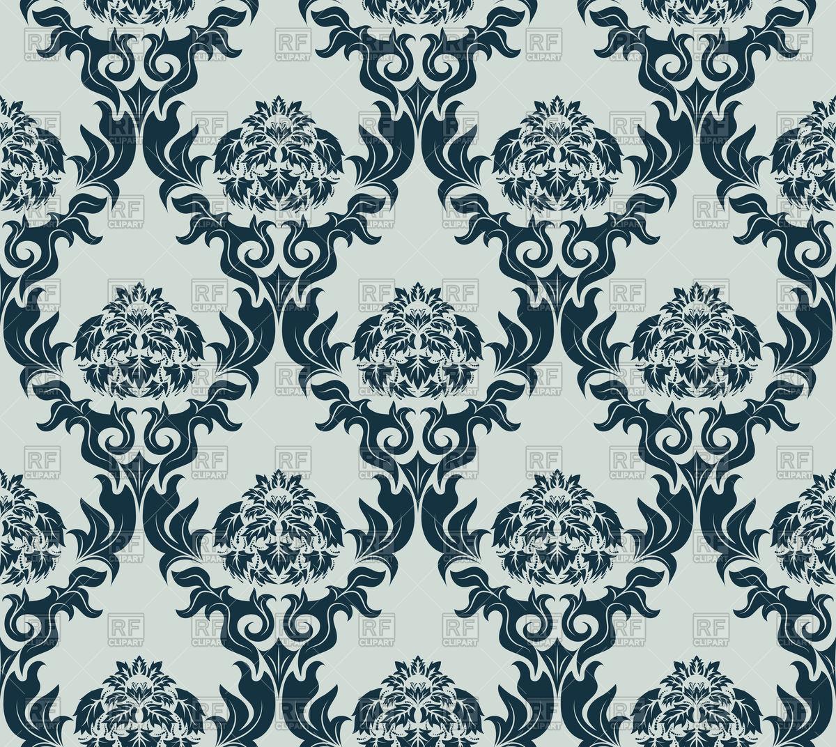 Damask grey seamless old wallpaper pattern Vector Image #85833.