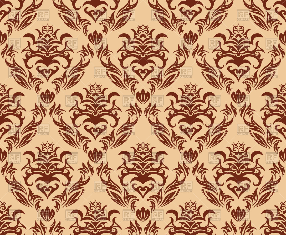 Brown seamless old wallpaper pattern Vector Image #85685.