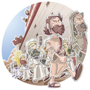 March around the wall of Jericho Clipart Image.