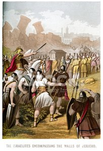 Israelites attacking the Walls of Jericho Clipart Image.