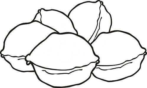 black and white cartoon walnuts Clipart Image.