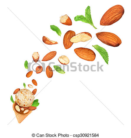 Pictures of almond ice cream fall in the air on an isolated white.