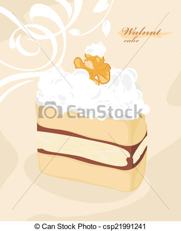 EPS Vector of Cake with walnut on the decorative background.