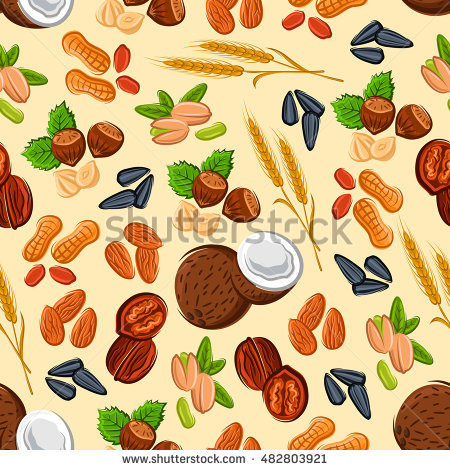 Nuts And Seeds Seamless Pattern With Almond, Hazelnut, Peanut.