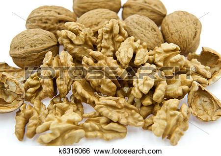 Stock Images of Walnut Kernels Beside Walnuts in Shell k6316066.
