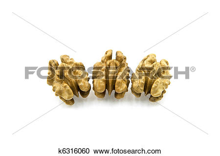 Stock Photography of Three Walnut Kernels k6316060.