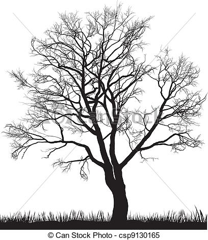 Clipart Vector of Walnut tree in winter.