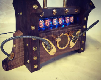 Steampunk Nixie Tube Mantle Clock Black Walnut & by TGTstudios.