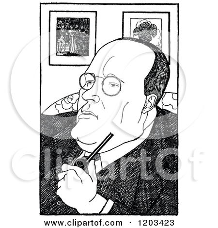Cartoon of a Black and White Sketched Male Caricature.