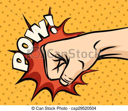 Vector Clipart of Fist hitting, fist punching in pop art style.