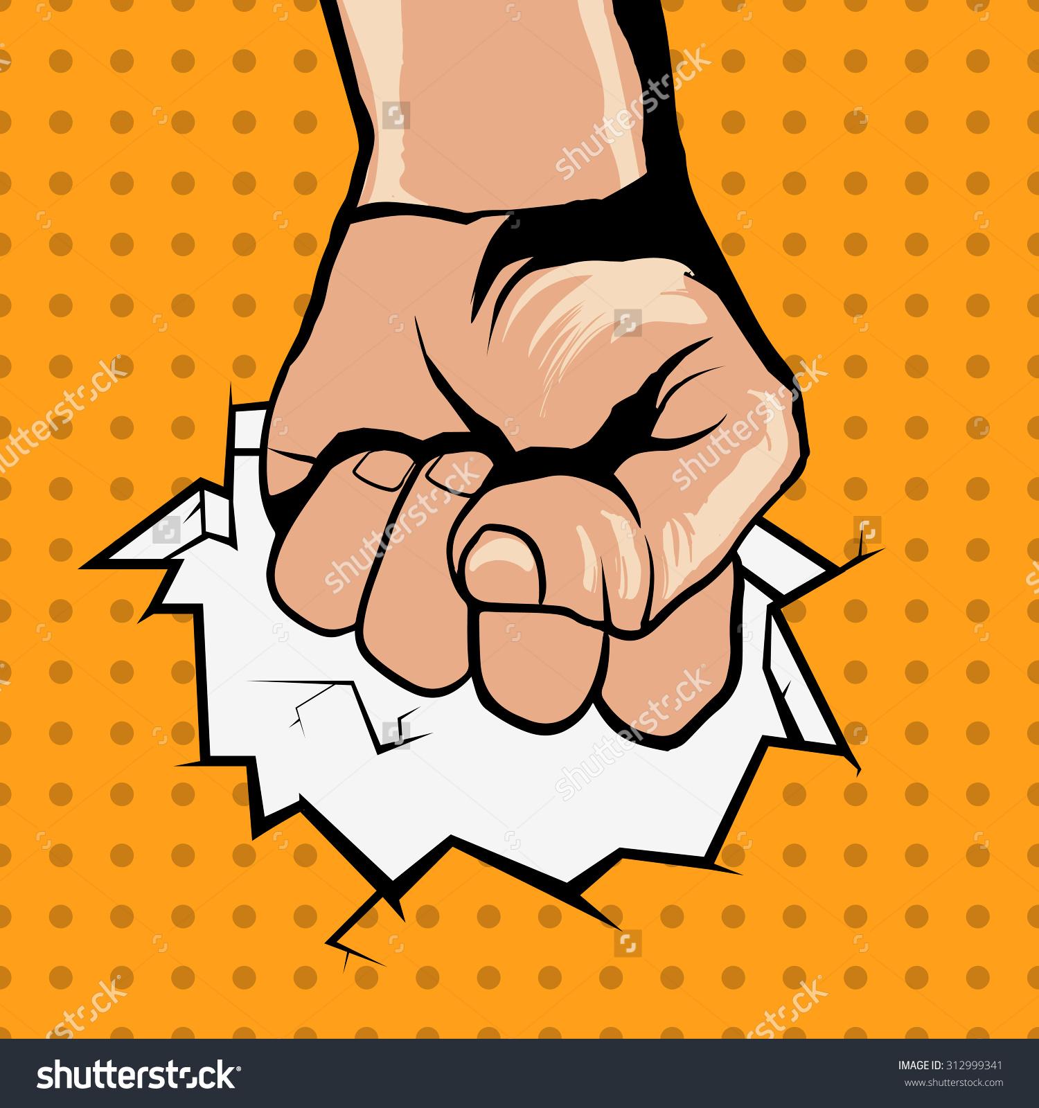 Fighting Hand Revolution Poster Popart Style Stock Vector.