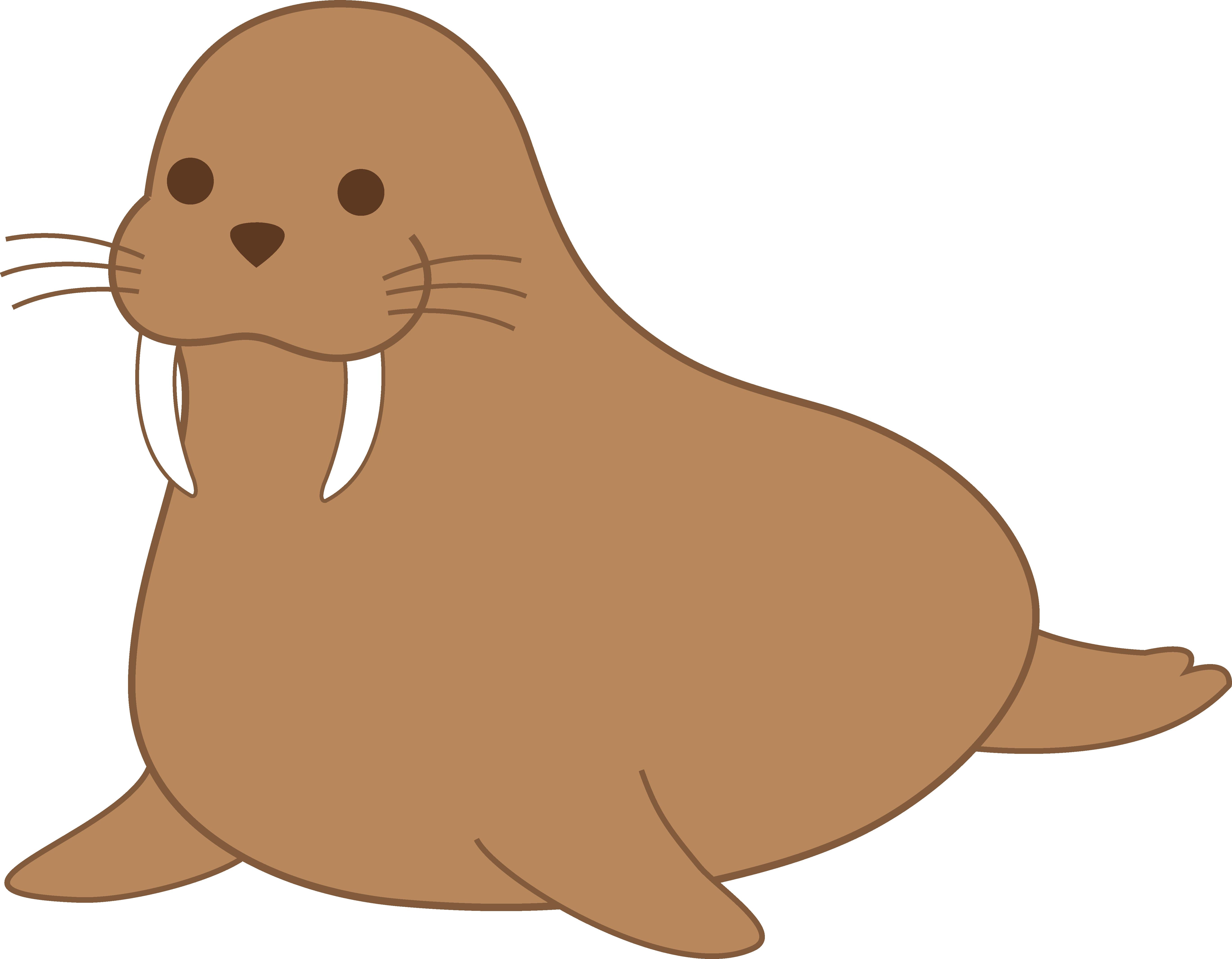 Chubby Brown Walrus Clip Art.