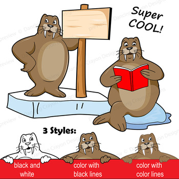 Walrus Clip Art with Signs.