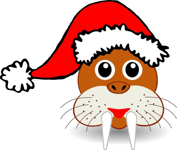 Funny walrus face with Santa Claus hat Free vector in Open.