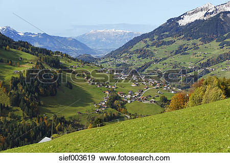 Stock Photograph of Austria, Vorarlberg, View of Raggal village.
