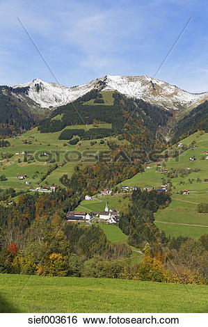 Stock Images of Austria, Vorarlberg, View of Sankt Gerold village.