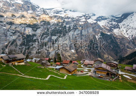 Murren Switzerland April 20 Village Among Stock Photo 347008928.