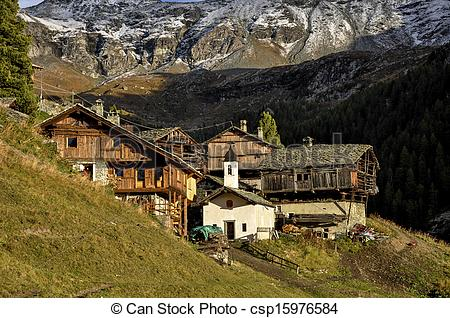 Pictures of Cuneaz, Walser village in Ayas csp15976584.