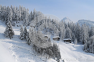 Cabins In The Alps Stock Photo.