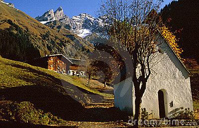 Traditional Wooden House,Kleinwalsertal,Austria Stock Photo.