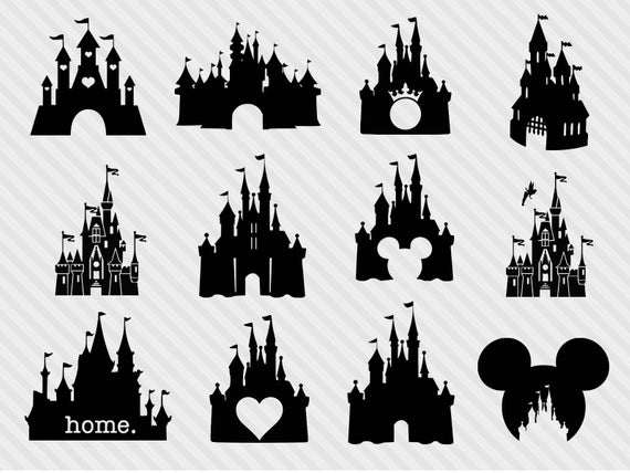 Disney castle svg bundle, disney castle clipart, castle svg, png, dxf,  princess clipart.