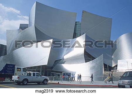 Stock Photograph of People walking near Walt Disney Concert Hall.