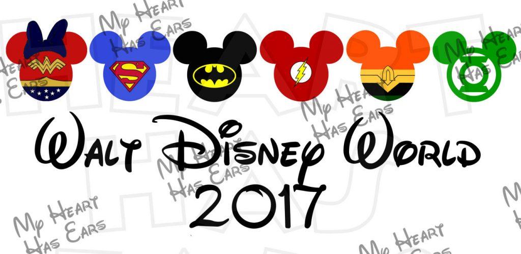 Justice League in Mickey Minnie Mouse heads ears Walt Disney World.