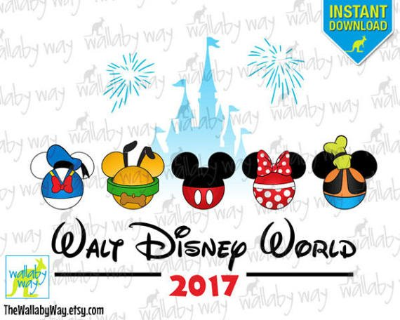 Walt Disney World Printable Iron On Transfer or Use as Clip.
