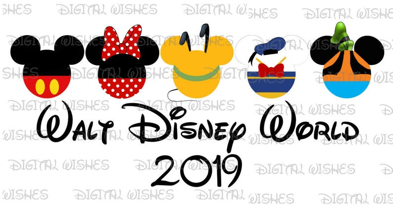 Fab 5 Five Mickey Mouse and gang heads ears Walt Disney World 2019 Digital  Iron on transfer clip art INSTANT DOWNLOAD DIY for Shirt.