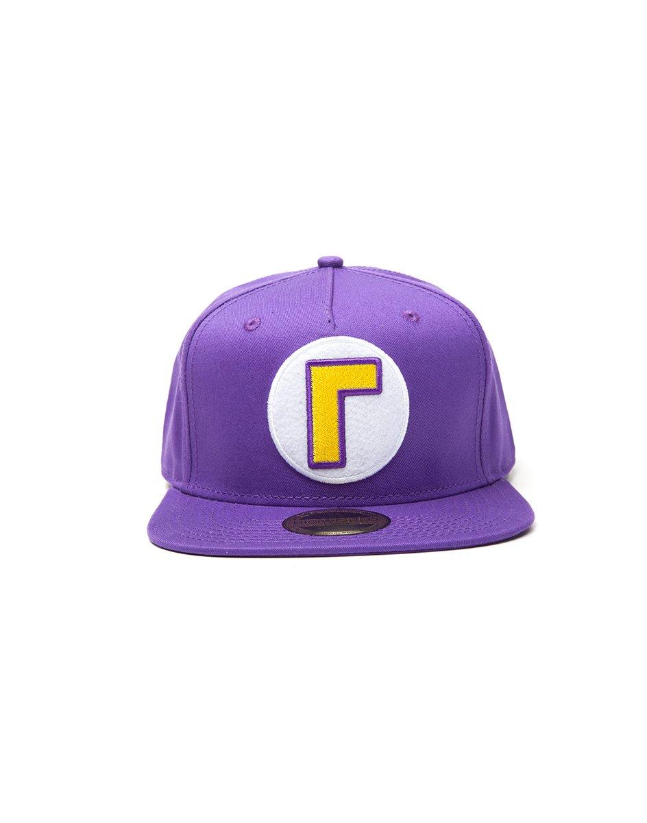 Nintendo Super Mario Bros. Waluigi Logo Snapback Baseball Cap, One Size.